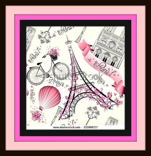 stock-vector-paris-symbols-seamless-pattern-romantic-travel-in-paris-vector-203986717 - PARIS SYMBOLS - INTRO REVISED