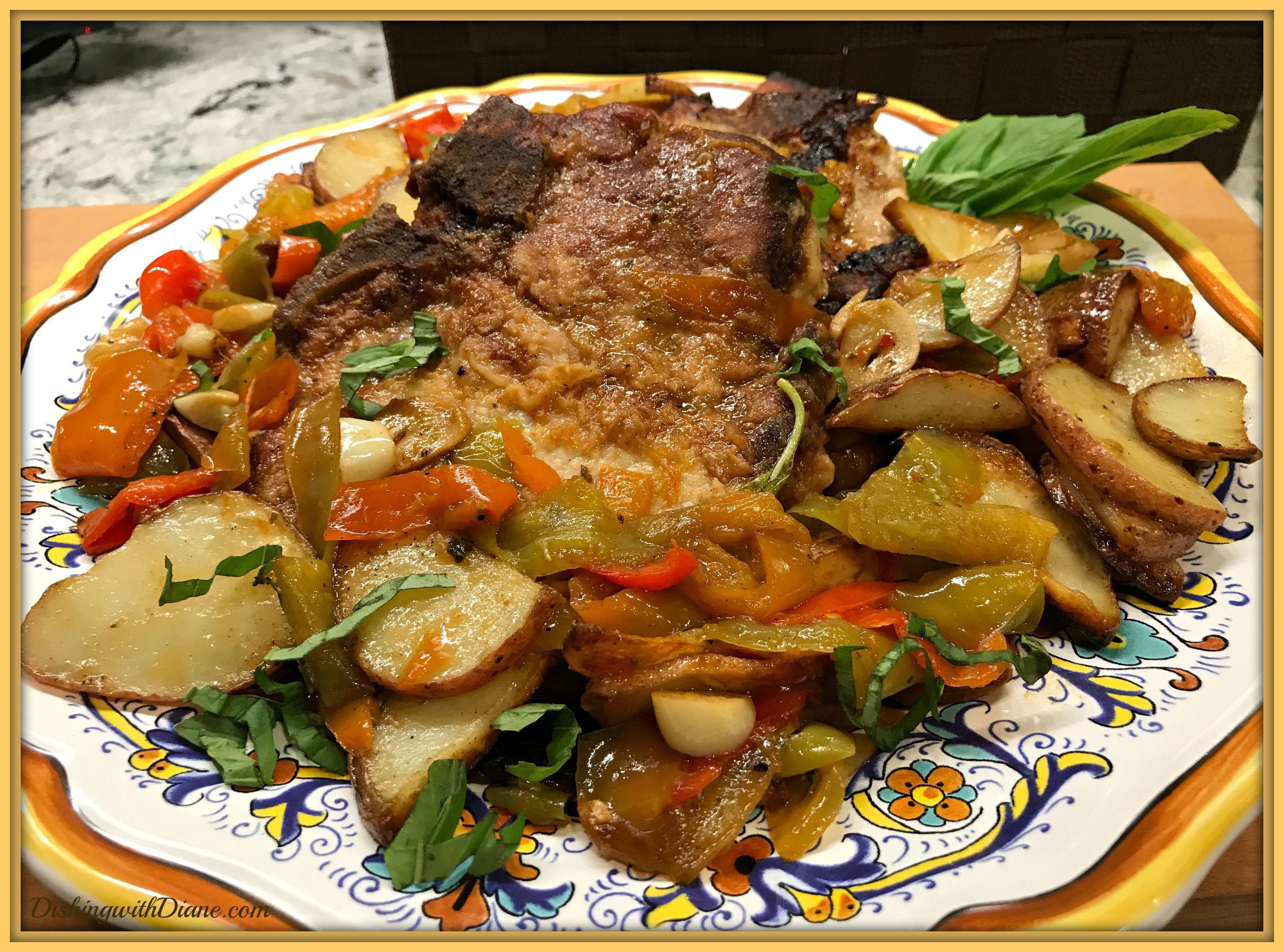 recipe pork chops vinegar peppers potatoes Pork Chops with Vinegar Peppers & Potatoes  Dishing With Diane